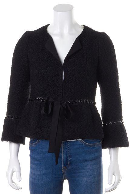 REBECCA TAYLOR Black Wool Boucle Embellished Tie Waist Bell Sleeves Jacket