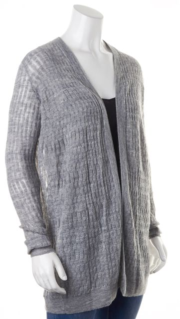REBECCA TAYLOR Heather Gray Loose Knit Sheer Open Cardigan Sweater