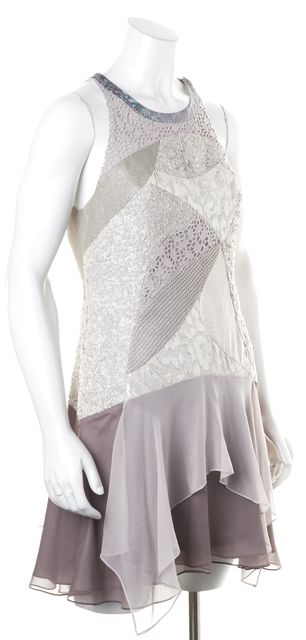 REBECCA TAYLOR Gray Purple Sequin Embellished Silk Shift Dress
