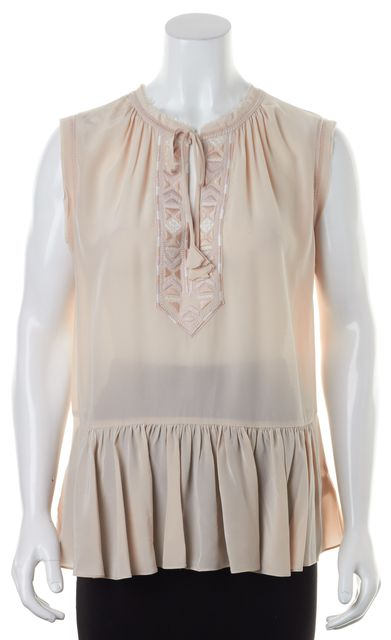 REBECCA TAYLOR Pink Embroidered Silk Blouse Tie Front Raw Edges Blouse Top