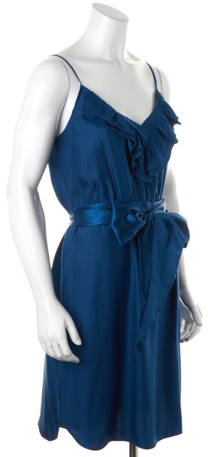 REBECCA TAYLOR Blue Dotted Silk Spaghetti Strap Blouson Dress