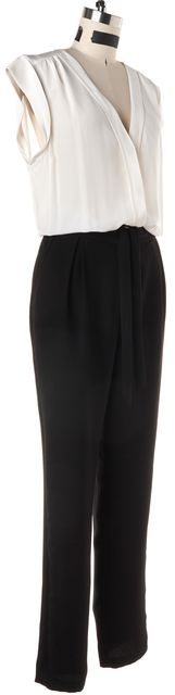 REBECCA TAYLOR White Black Color Block Crepe Silk Jumpsuit