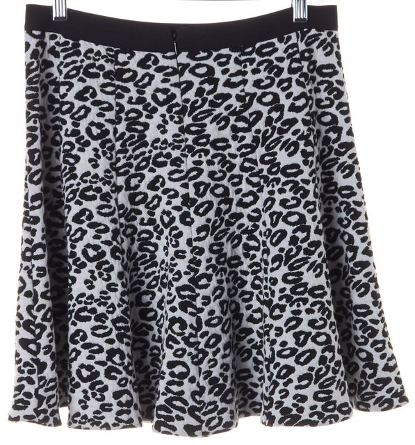 REBECCA TAYLOR White Black Leopard Animal Print Flare Skirt