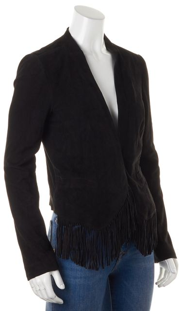 REBECCA TAYLOR Black Suede Fringe Trim Open Basic Jacket