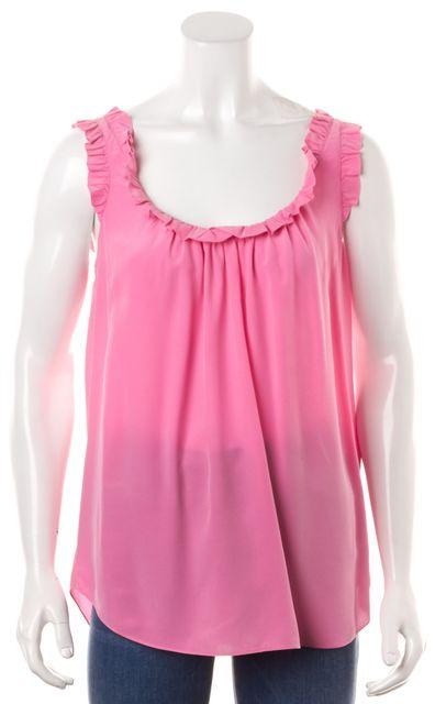 REBECCA TAYLOR Pink Silk Sleeveless Ruffle Trim Blouse Top