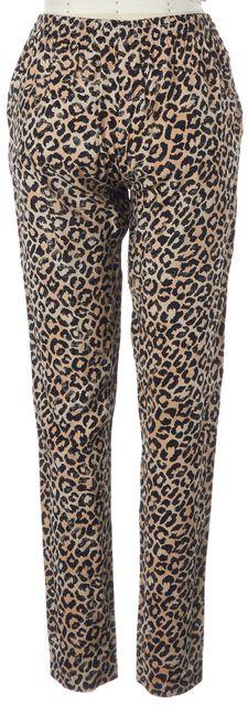 REBECCA TAYLOR Brown Black Leopard Printed Drawstring Waist Casual Pants