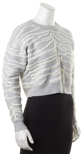REBECCA TAYLOR Gray White Abstract Cropped Crewneck Sweater