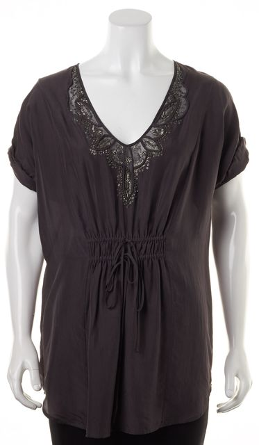 REBECCA TAYLOR Deep Gray Bead Embellished Silk Tunic Top