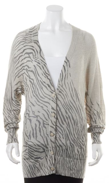 REBECCA TAYLOR Gray Beige Silk Tiger Print Button Up Cardigan
