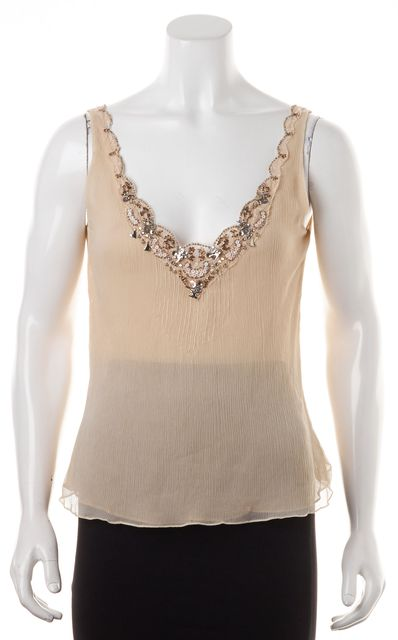 REBECCA TAYLOR Beige Bead Embellished Silk Semi Sheer Cami Top