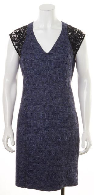 REBECCA TAYLOR Blue Black Tweed Lace Shoulder Sheath Dress