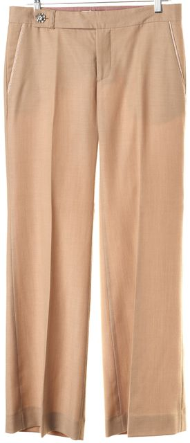 REBECCA TAYLOR Beige Striped Wool Diamond Embellished Waist Dress Pants