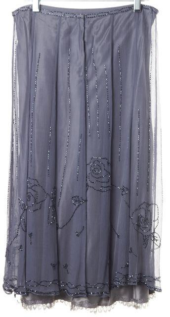 REBECCA TAYLOR Blue Floral Embellished Crepe Silk Lace Trim Straight Skirt