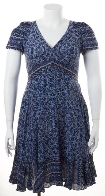 REBECCA TAYLOR Blue Smoke Paisley Floral Silk V-Neck Fit Flare Dress