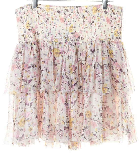 REBECCA TAYLOR White Pink Silk Tiered Floral Tapestry Garden Skirt