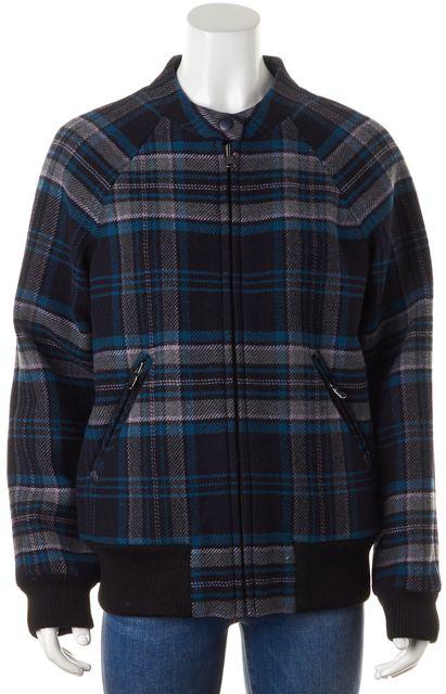 REBECCA TAYLOR Navy Blue Purple Plaid Check Wool Zip Up Coat Jacket
