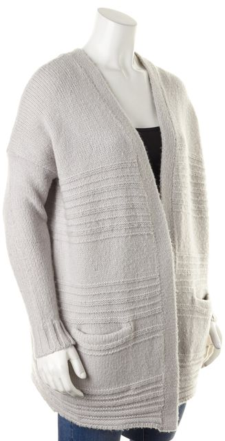 REBECCA TAYLOR Gray Chunky Knit Long Open Cardigan Sweater