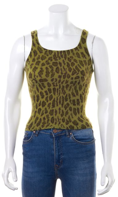 REBECCA TAYLOR Green Brown Leopard Print Cashmere Tank Top