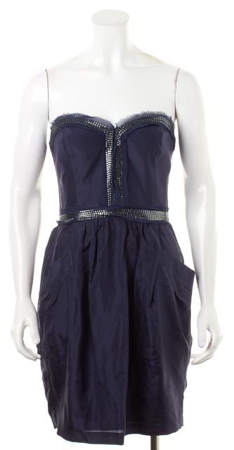REBECCA TAYLOR Blue Sequin Embellished Silk Two Pocket Corset Dress