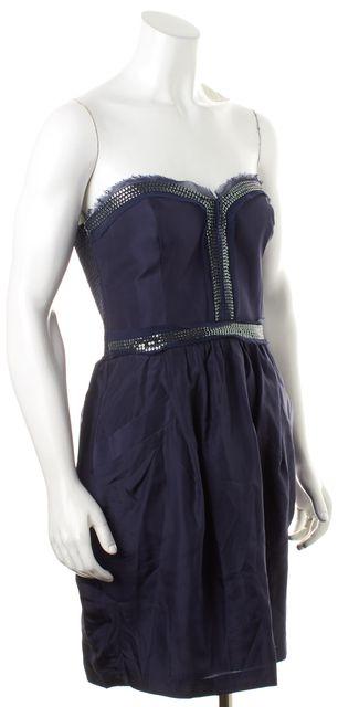 REBECCA TAYLOR Blue Sequin Embellished Silk Two Pocket Corset Dress