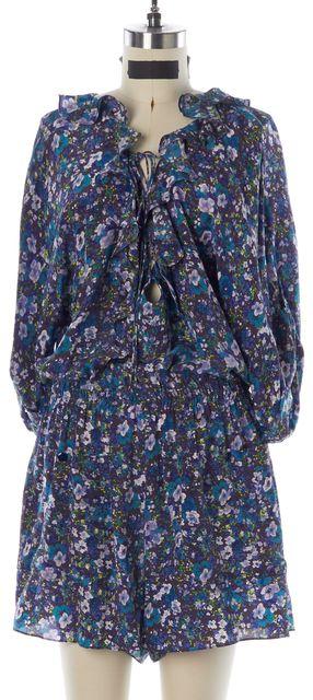 REBECCA TAYLOR Blue Yellow Floral Silk Elastic Waist Romper