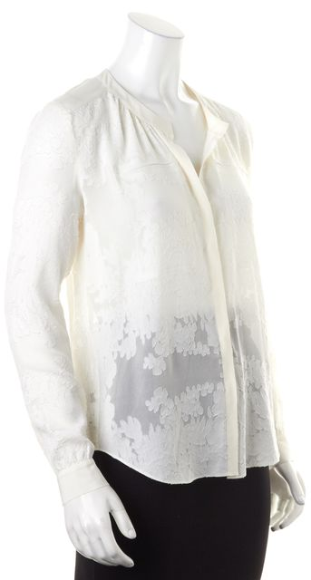 REBECCA TAYLOR Ivory Floral Silk Long Sleeve Sheer Blouse