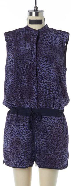REBECCA TAYLOR Purple Black Animal Printed Silk Drawstring Blouson Romper