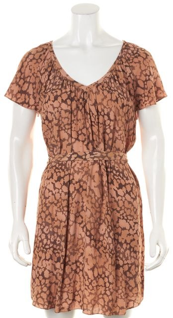 REBECCA TAYLOR Brown Beige Animal Print Belted Blouson Dress