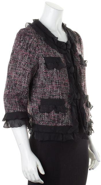 REBECCA TAYLOR Purple Black Tweed Ruffle Button Up Jacket