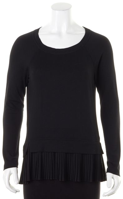REBECCA TAYLOR Black Pleated Trim Long Sleeve Knit Top