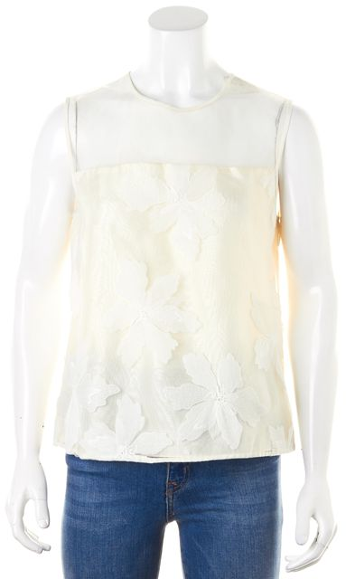 REBECCA TAYLOR Cream Floral Embroidered Organza Sleeveless Blouse