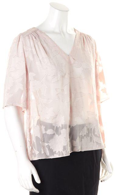 REBECCA TAYLOR Pink Floral Embroidered Sheer Cotton Silk V-Neck Blouse