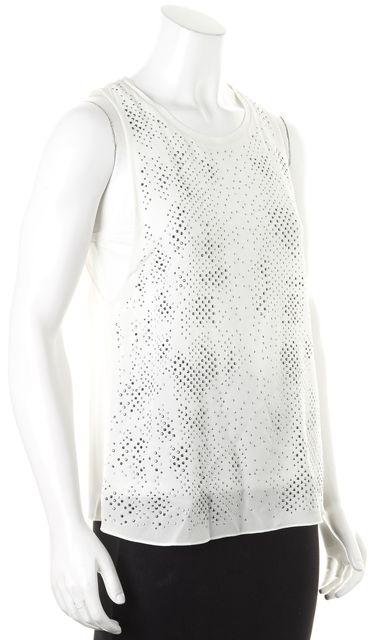 REBECCA TAYLOR Ivory Embellished Silk Sleeveless Blouse