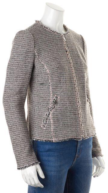 REBECCA TAYLOR Pink Black Tweed Fringe Trim Zip-Up Jacket