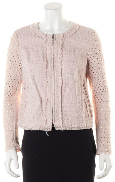 REBECCA TAYLOR Pink Cotton Tweed Perforated Sleeve Zip-Up Jacket