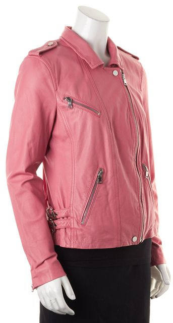 REBECCA TAYLOR Pink Lamb Leather Motorcycle Moto Jacket