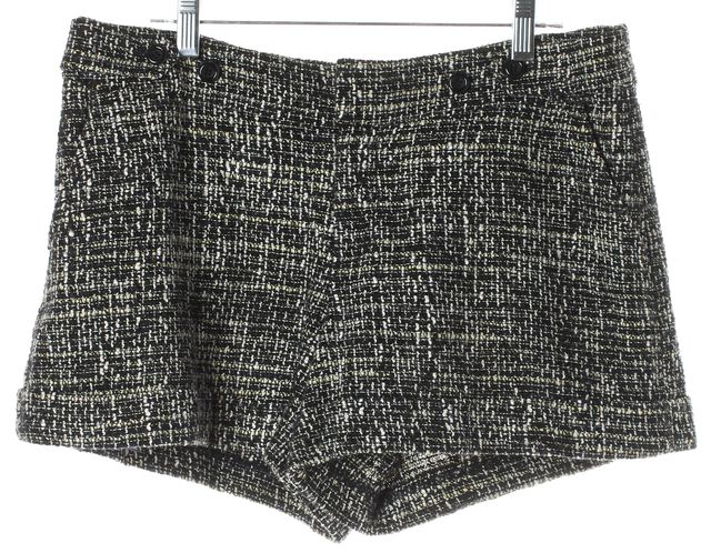 REBECCA TAYLOR Black Navy Textured Tweed Casual Shorts