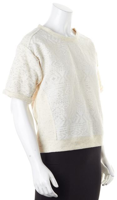 REBECCA TAYLOR Ivory Gray Abstract Marled Short Sleeve Crewneck Sweater