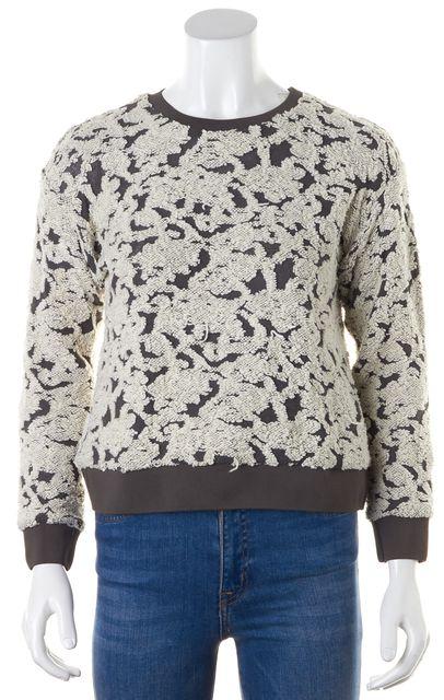 REBECCA TAYLOR Gray Ivory Textured Knit Long Sleeve Crewneck Top