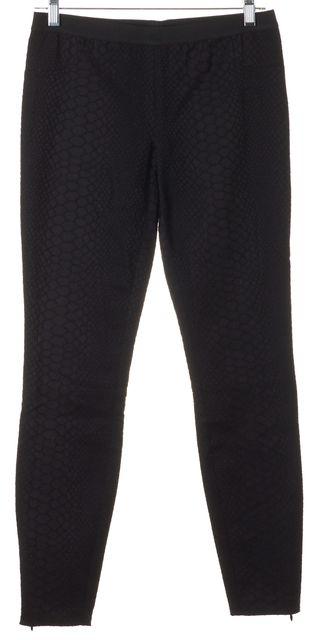 REBECCA TAYLOR Black Snakeskin Net Lace Overlay Skinny Pants