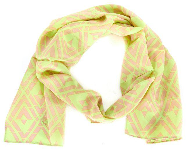 REBECCA TAYLOR Neon Yellow Nude Beige Geometric Diamond Print Silk Scarf