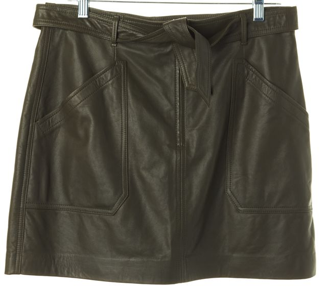 REBECCA TAYLOR Olive Green Tumbled Leather Straight Skirt