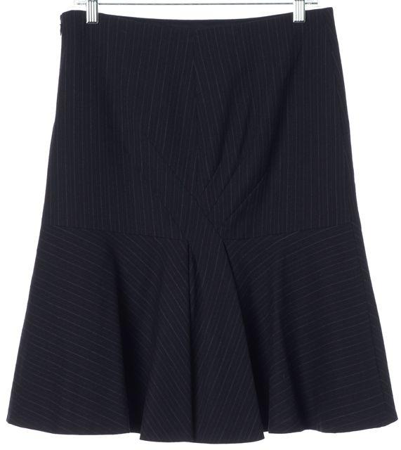 REBECCA TAYLOR Navy Blue Wool Striped Knee-Length Flounce Skirt