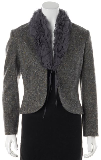 REBECCA TAYLOR Gray Multi-Colored Speckled Boucle Wool Jacket