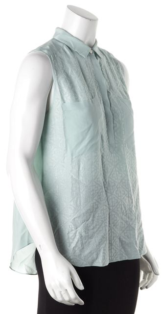 REBECCA TAYLOR Mint Green Graphic Silk Blouse