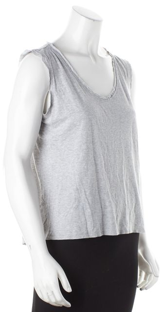 REBECCA TAYLOR Light Gray Crewneck Tank Top