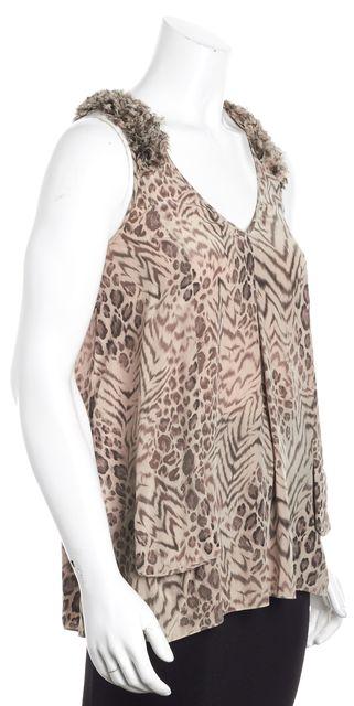 REBECCA TAYLOR Pink Ruffle Abstract Animal Print Silk Tunic Tank Top