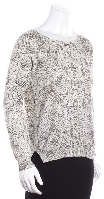 REBECCA TAYLOR Beige Abstract Snakeskin Print Crewneck Sweater