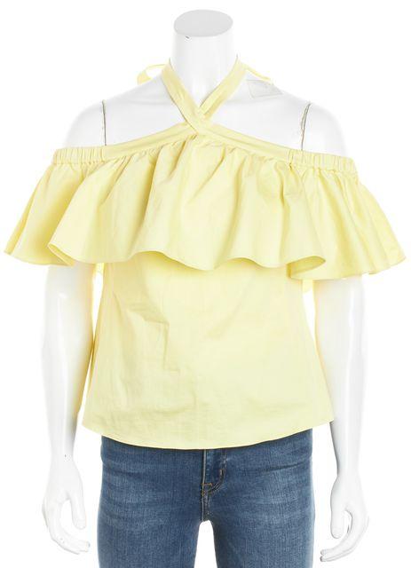 REBECCA TAYLOR Yellow Ruffle Trim Off-Shoulder Halter Top