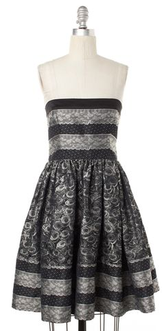 RED VALENTINO Black Floral Print Corset Fit & Flare Dress